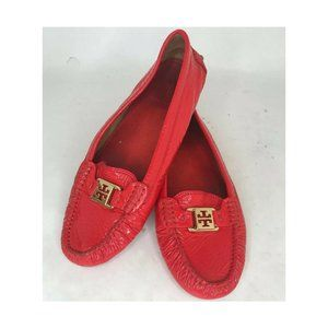 Tory Burch Ladies 9.5 Red Crinkle Leather Loafers